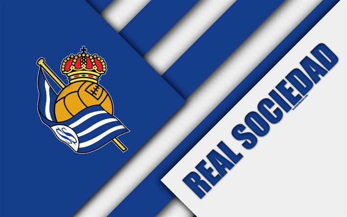 Download wallpapers Real Sociedad FC, blue white abstraction, San Sebastian, Spain, 4K, Spanish football club, logo, material design, football, La Liga