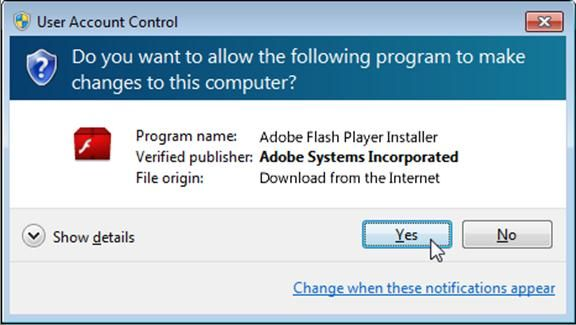 User Access Control : Adobe Flashplayer troublshooting.  AKA Help.  lol.  supposedly