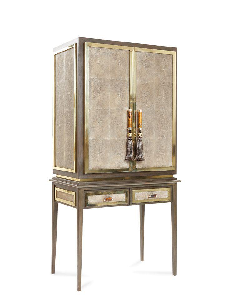 cabinet, resin stingray tabac, dark greywood and brass