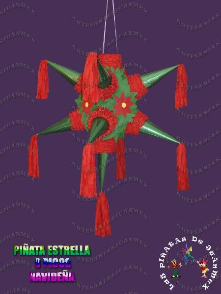 Piñata navideña.   For Christmas, the traditional style piñata with the points is popular as it is associated with the Star of Bethlehem.