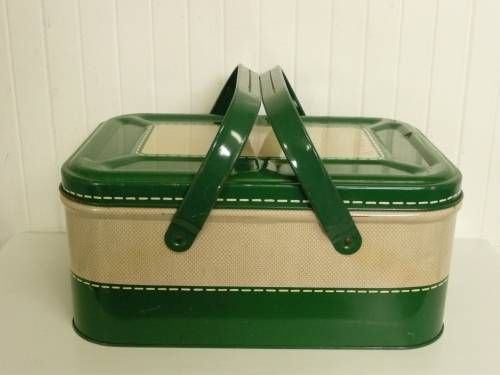 RARE Vintage Tin Metal Picnic Basket, Hunter Green Basket Weave Lithograph w/ Metal Swing Handles $50