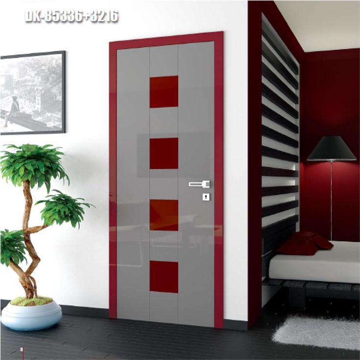 Drzwi wewnętrzne Umberto Cobeli model DK-85336+3216, pokryte wysokopołyskową folią akrylową w bogatej wersji kolorystycznej.