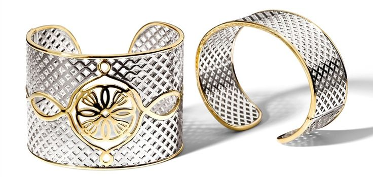 Ti Sento Milano two-tone cutout bracelets #sterlingsilver #cuffbracelet #italianjewelry