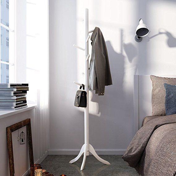 Lch Sturdy Standing Coat Rack Solid Rubber Wood Hall Tree Coat Tree With Tripod Base 8 Hooks White With Images Coat Rack White Coat Rack Coat Tree