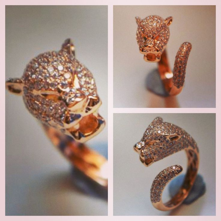 Rose Gold Panther with white diamonds... FIERCE!