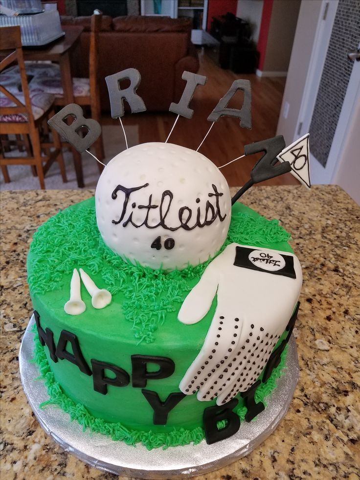 40th Golf Birthday Cake Banana cake ball with marshmallow fondant White cake with chocolate mousse filling.