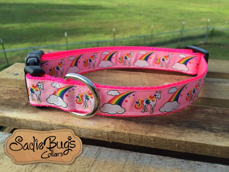 Unicorn dog collar, Rainbow dog collar by SadieBugsCollars on Etsy https://www.etsy.com/listing/243094126/unicorn-dog-collar-rainbow-dog-collar