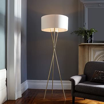 Mid-Century Tripod Floor Lamp - Antique Brass #westelm