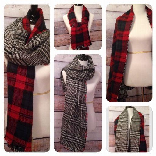 "2 Sided Scarf - Red Plaid/Black & White  35""x72"" www.royalravenboutique.com"