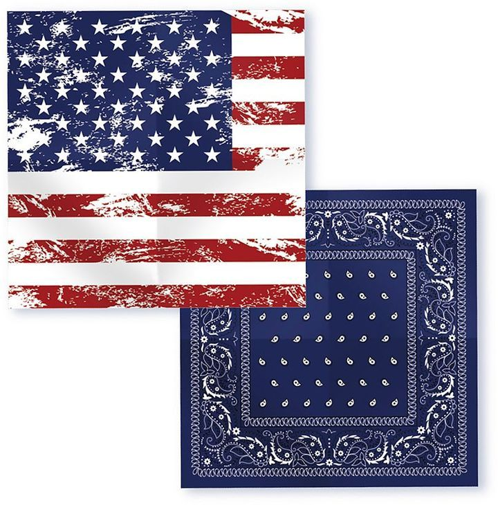 Give your casual look a patriotic twist with these Americana bandanas from Wembley. PRODUCT FEATURES  2-pack American flag & paisley designs