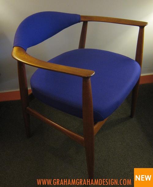 Fully restored Danish Teak armchairs in a purple 100% wool