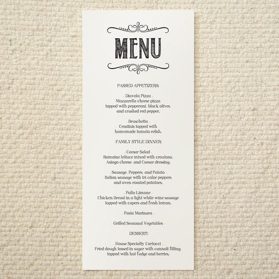 Best Menu Ideas Images On   Wedding Menu Template