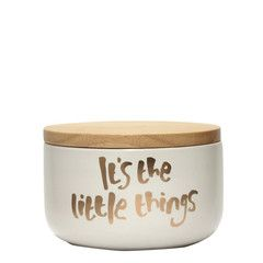 "Kitchen Canister - White & Gold ""It's The Little Things"""