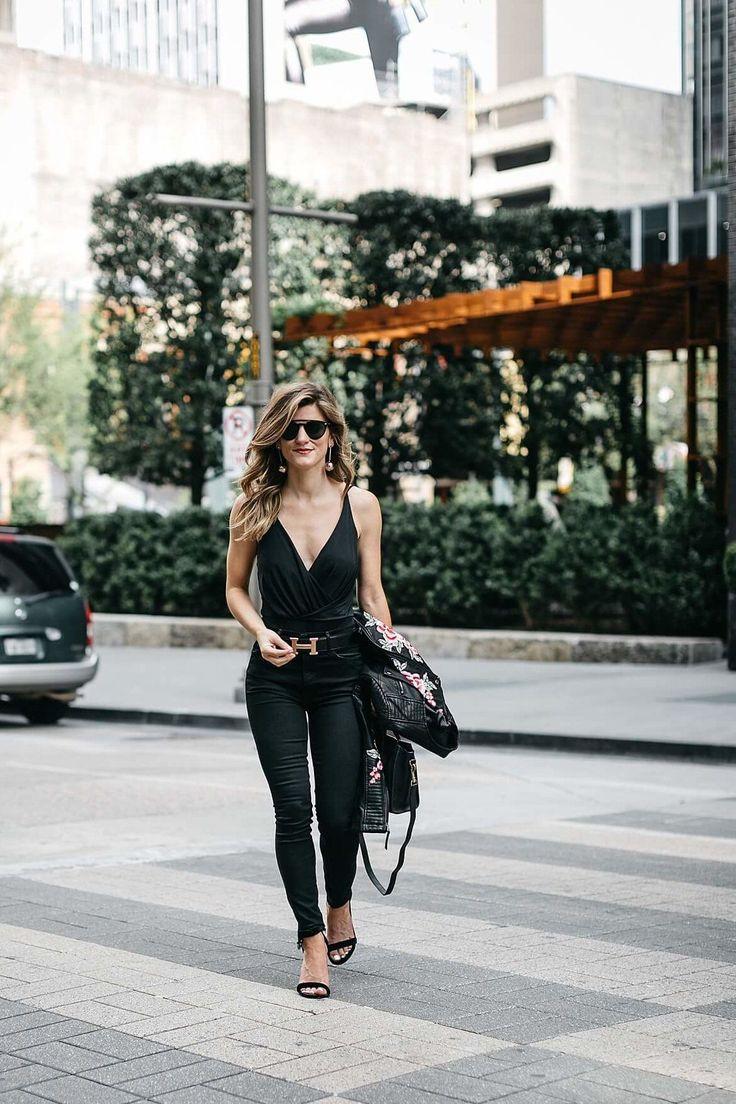 Black bodysuit+black skinny jeans+black ankle strap heeled sandals+black shoulder bag+black floral embroidery leather jacket+long earrings+black sunglasses. Summer Night Out/ Dressy Casual/ Party/ Dinner Outfit 2017