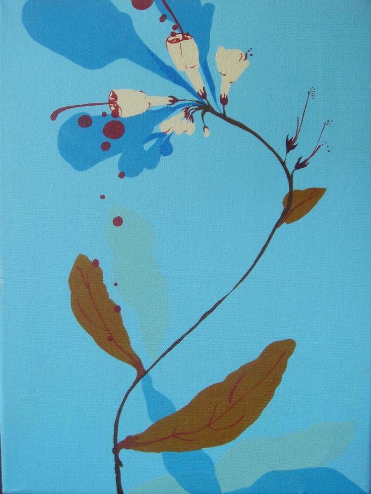 "Nina Bednarski ""Virginia Cowslip""  2006, acrylic and enamel on canvas, 9"" x 12"""