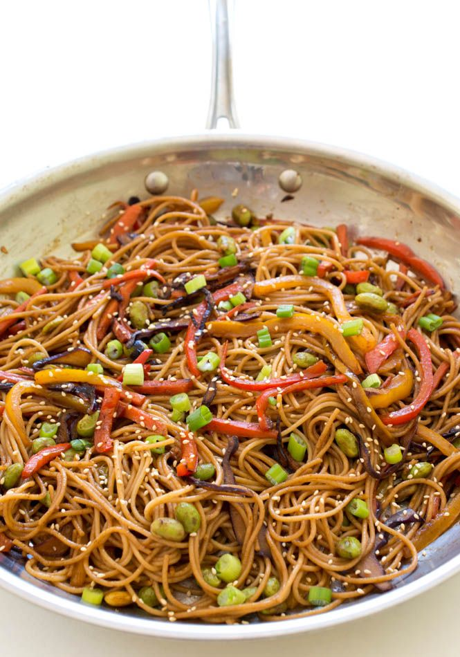 Colorful Rainbow Vegetable Noodle Stir-Fry. A quick and healthy weeknight dinner that takes less than 20 minutes to make! Recipe by chefsavvy.com