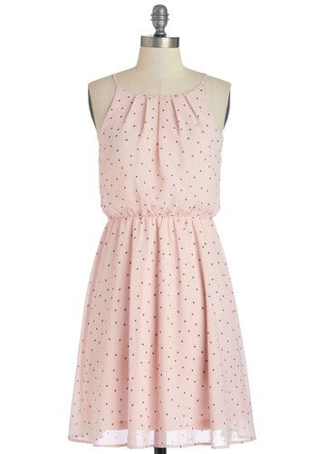Lots of Dots Dress - Mid-length, Chiffon, Woven, Pink, Brown, Polka Dots, Party, A-line, Good, Scoop, Daytime Party, Pastel, Spaghetti Straps