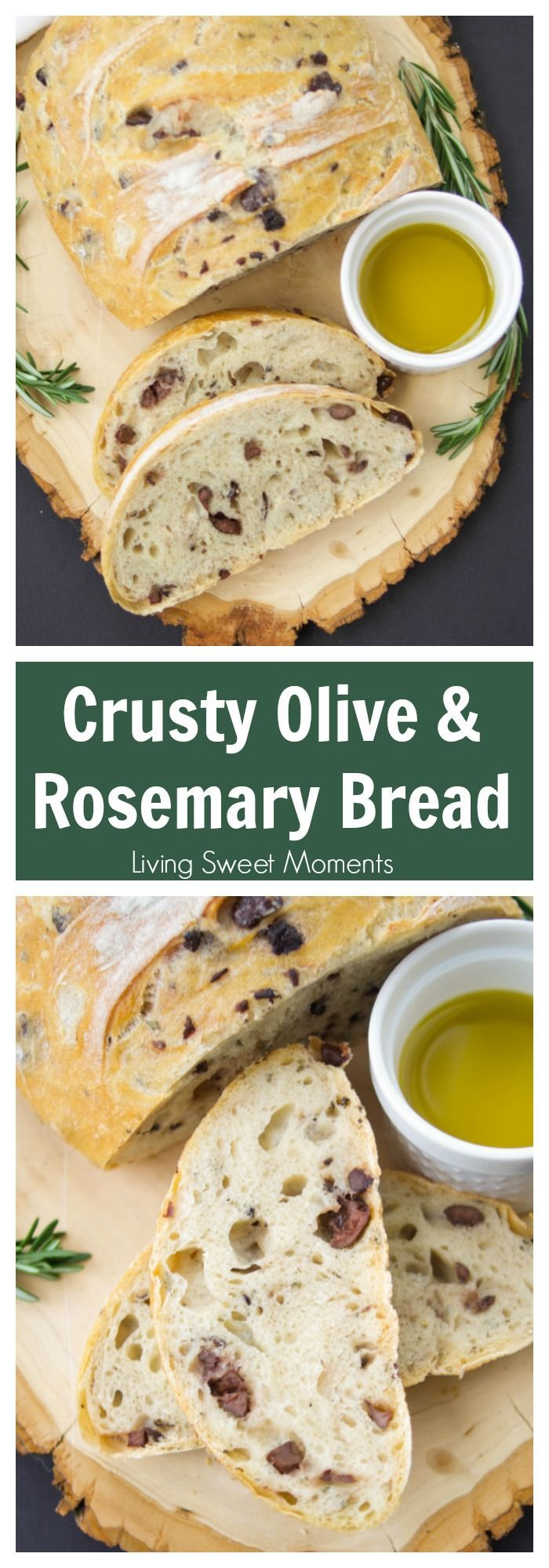 This amazing Rosemary Olive Bread Recipe has a nice crust on the outside and chewy on the inside. Better than any bakery. Enjoy a few slices with olive oil. More bread recipes at livingsweetmoments.com via @Livingsmoments
