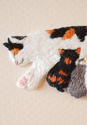 ギフネコオリジナル 手刺繍ワッペン,手作り,猫