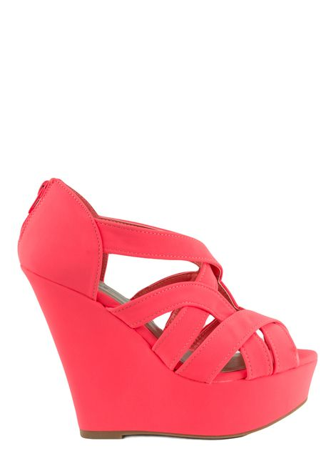 Finder-145 Neon Coral Nubuck Wedge Sandal by Qupid | Cherry Footwear $8.00 Flat Rate Shipping, 30 Days Money Back Guarantee.