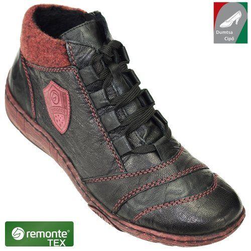 Remonte női bőr cipő D3871-02 fekete kombi