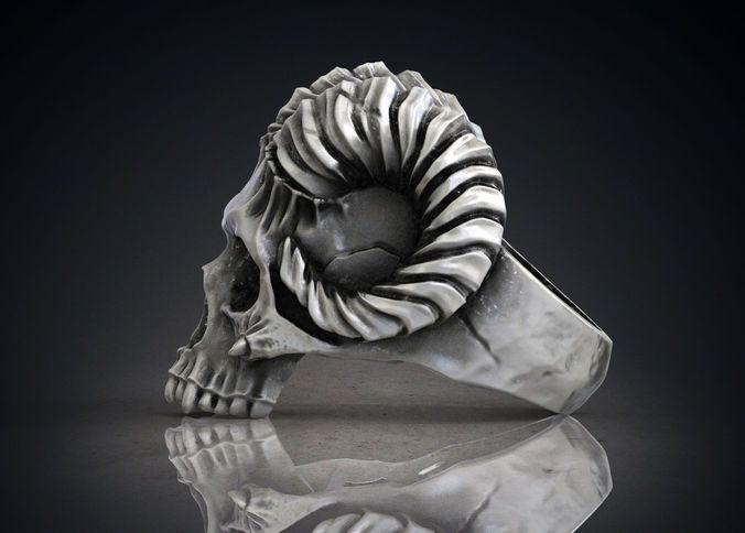 ring skull horned demon stl obj 3d model for 3d printing 3d model obj stl 4