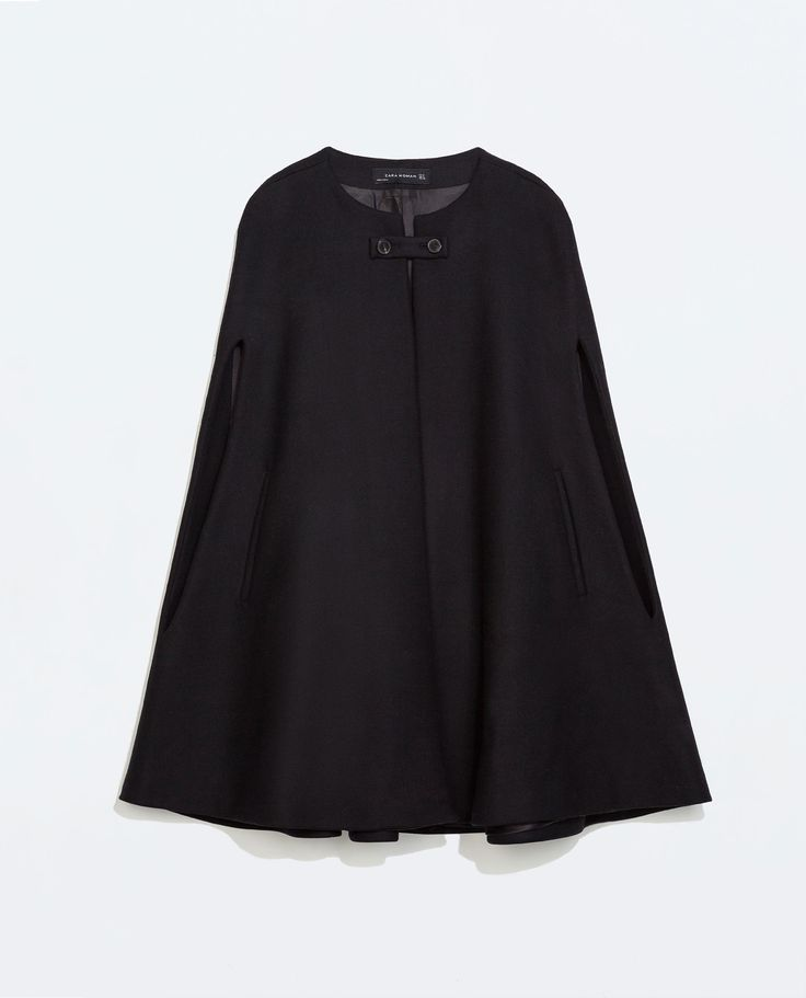 buttoned cape coat zara fall winter style pinterest coats beats and i will. Black Bedroom Furniture Sets. Home Design Ideas