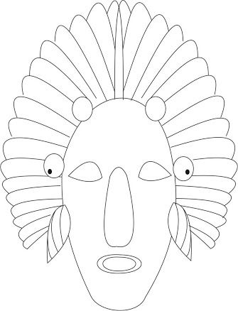 african masks templates to colour