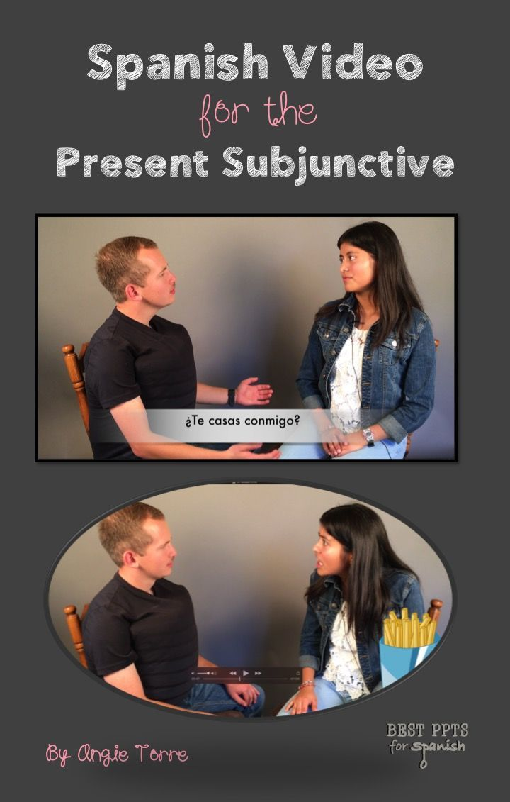 Spanish Video of Present Subjunctive: What's better comprehensible input than conversation with a native speaker?  Videos of native speakers with Spanish subtitles AND overlaid visuals and animation to aid in comprehension, with music and corresponding activities for recycling and repetition of vocabulary and concepts.