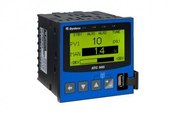 Dynisco ATC990 Process Controller 1/4 DIN Auto-Tuning Control and Display of Process or Differential Pressure.     The ATC990 with a graphical/text LCD display is a universal input process controller with advanced functionality including Trend views as well as Digital Inputs, USB and data logging options