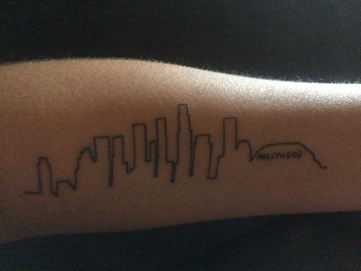 Hollywood tattoo skyline outline petite tattoos Los Angeles LA California sky line inked inks ink linie line