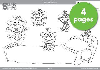 "Free downloadable ""Five Little Monkeys"" coloring pages from Super Simple Learning. #kindergarten #preK #ESL"