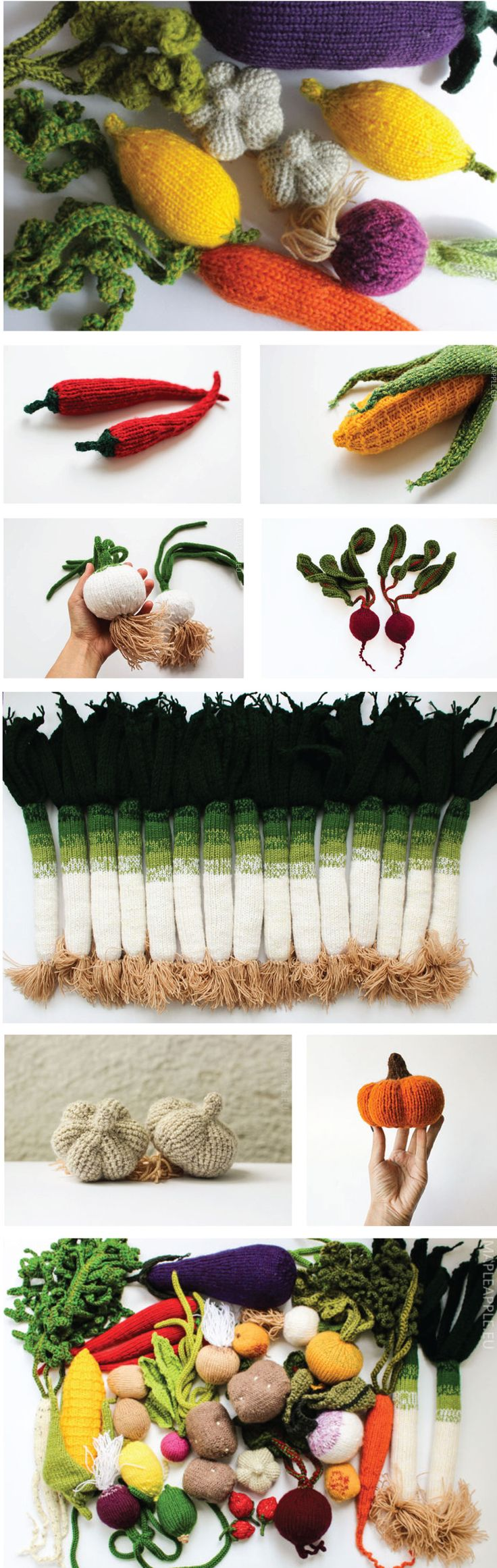 Found these great knitted play veggies on the Etsy shop, Maple Apple. They are the creations of mother (Jelena) and daughter (Anastasija) design team from Riga, Latvia. The beautifully knitted vege…