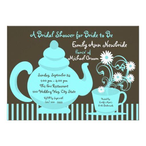 Best 25 housewarming invitation cards ideas on pinterest tea party aqua bridal shower aqua and espresso brown teapot invitation for bridal showers baby stopboris Image collections