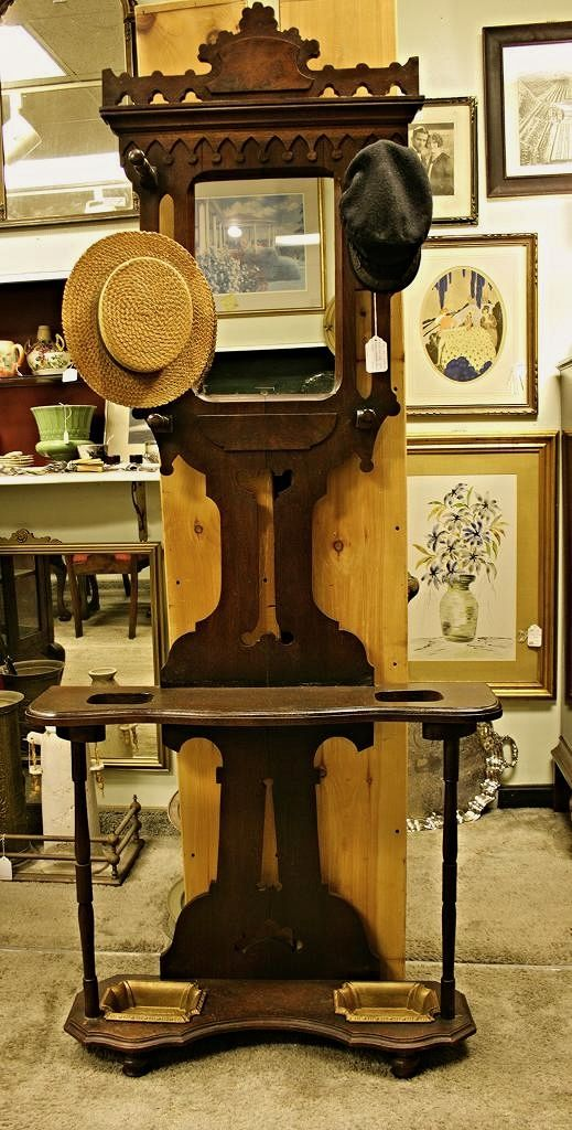 1870-1880 Solid walnut Eastlake Victorian Hall tree hat rack umbrella stand with mirror. In excellent ready to use condition...asking 449   The Antique Roadhouse,  700 Washington St, Norwood Center, MA 02062,  781-769-1532  www.AntiqueRoadhouse.com