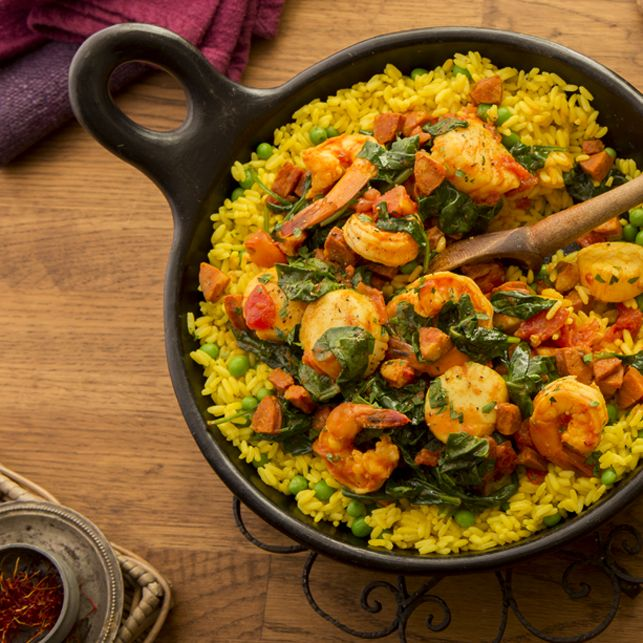 Shrimp, Scallop and Sausage Paella- nothing says Spain like Paella ...