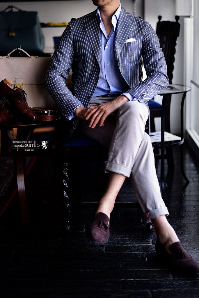 チェックの次はストライプ?Ermenegildo Zegna(エルメネジルド・ゼニア)CROSS PLY(クロス・プライ)の夏ジャケットはウール・リネン・シルクの三者混でとても軽く清涼感のある素材。当然アンコン仕立てがこのクロスよ良さを存分に発揮してくれるわけです。ライトブルーのコットンシャツとトラマロッサのチノパン。靴はスピーゴラのタッセルローファーと定番の装いにこのストライプジャケットが活きます。,オーダー靴,スピーゴラ,SPIGOLA,トラマロッサ,tramarossa,Ermenegildo Zegna,エルメネジルド・ゼニア,CROSS PLY,クロス・プライ,夏ジャケット,ジャケットコーディ,ワードローブ,オーダージャケット,オーダーシャツ,オーダー靴,spigola,タッセルローファー,スエード,革靴,誂え,紳士,オーダーメイド,福岡,黒崎,北九州,ビスポークスーツ110,bespokeSUIT110,bespokeSUITIIO,