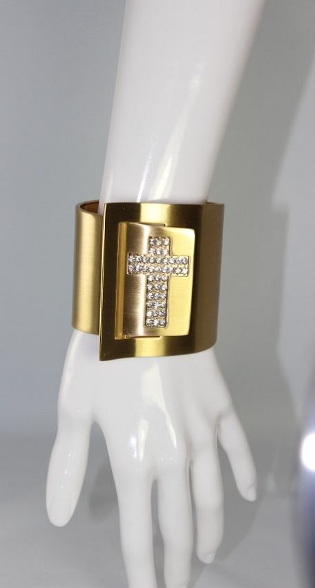 Gold Cuff with Stone Cross