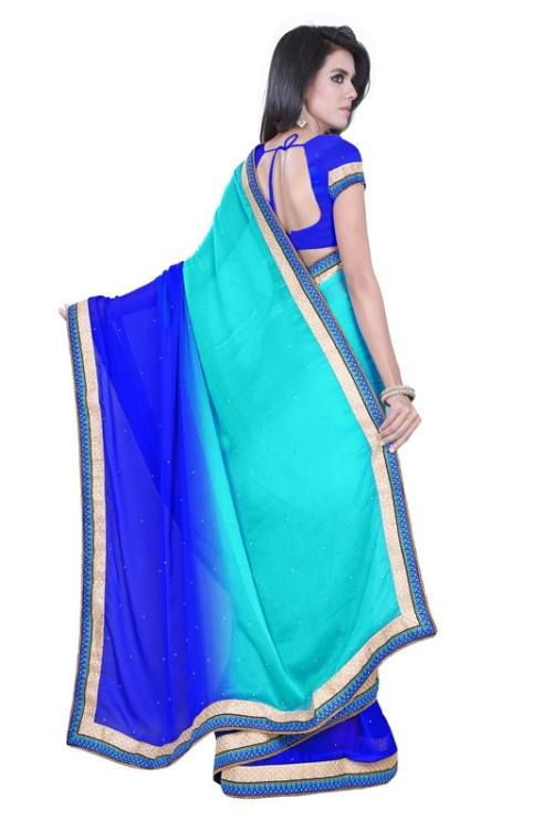 Shaded Sarees @ 1399 Georget Shaded Saree With Stone Work With Border