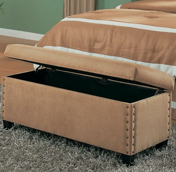 Tan Microfiber Bedroom Bench With Storage And Pin Trim
