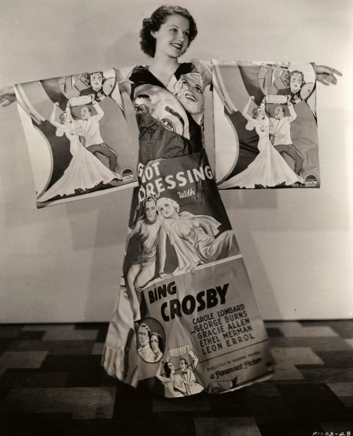 Fully Illustrated Style.   Ann Sheridan 30s 40s kimono dress made of movie posters paper cloth fabric long gown unique movie star promotion photo novelty print newspaper print ad