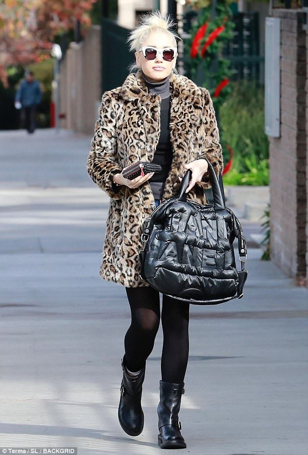 Pur-fect!Gwen embraced the winter season by sporting her favourite chic leopard faux-fur coat while taking a stroll in Studio City, California, on Friday
