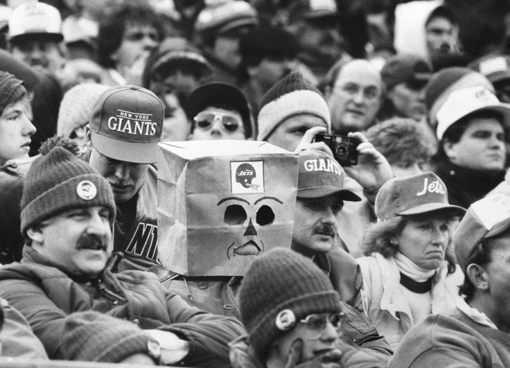 A disappointed NY Jets fan at a game against the NY Giants, Dec. 27, 1987. Both New York teams had been expected to make the National Football League playoffs, instead, each finished with a 6-9 record and last in its division. [Photo by Barton Silverman/NYT, 1280 × 924] : HistoryPorn