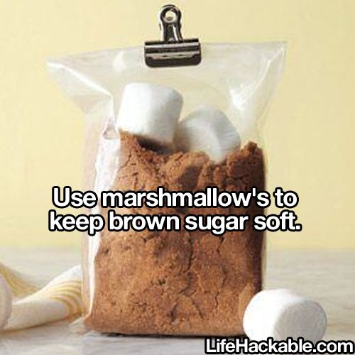 Great use for those old camping marshmallows that didn't get used: keeping brown sugar soft