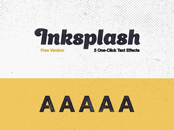 Inksplash Free Text Effects: 5 One-Click Adobe Illustrator graphic styles, old vintage newspaper style.
