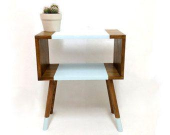 Mediados de mesas modernas siglo, mesita de noche de mediados de siglo, mesa escandinava, Retro mesa de noche, mesa de centro, tabla azul Pastel