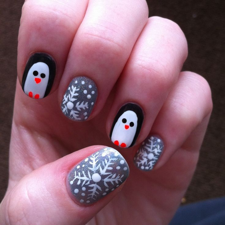 49 best winter nail art ideas images on pinterest winter nails penguins and holographic snowflakes winter manicure cute and simple nail art design silver prinsesfo Choice Image
