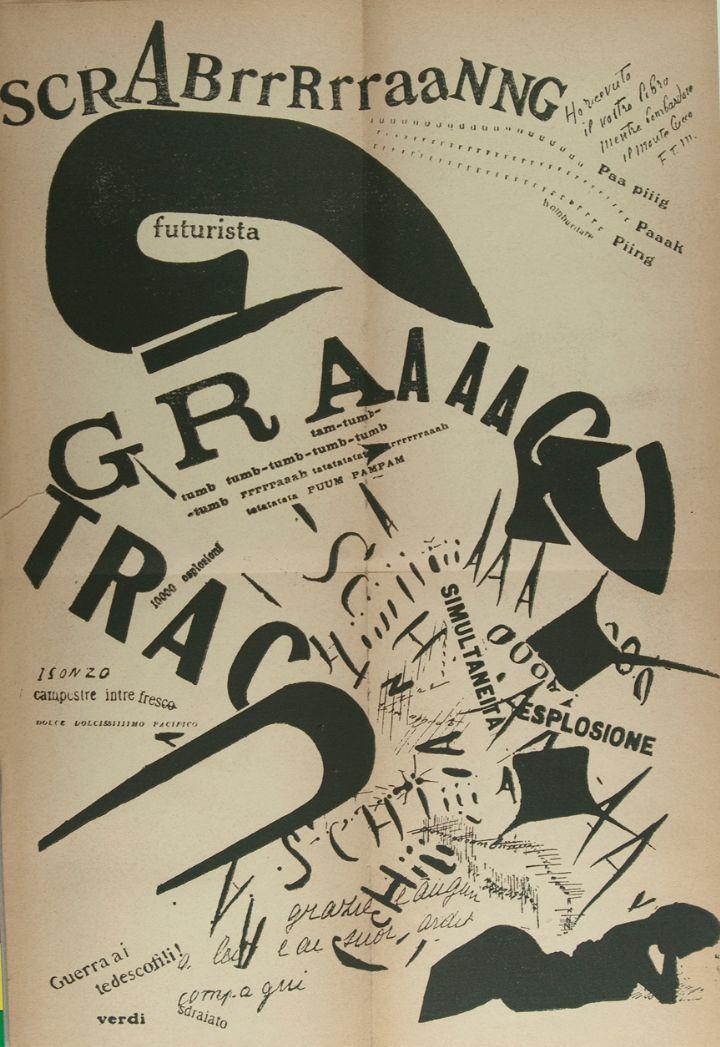 """Filippo Tommaso Marinetti (1876-1944), 1919, Les Mots en Liberté Futuristes (Futurist Words in Freedom), Milan, Edizioni futuriste di """"Poesia"""", Milano, Italy."""