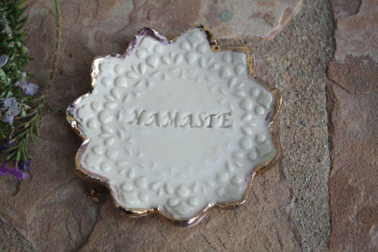 Namaste Petite Plate handmade ceramic ring dish small plate gold rim trinket dish meditation dish zen giving bowl yoga gifts by ManuelaMarinoCeramic on Etsy