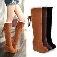 Wish | Women's Fashion Accessories Winter Fur Lining Tall Womens Boots Knee High Platform Wedge Boots